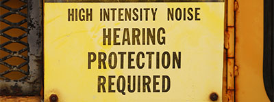 high intensity noise sign hearing protection